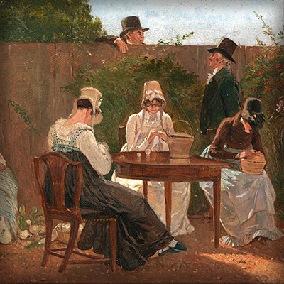 ingelijst-1800-the-chalon-family-in-london-schilderij