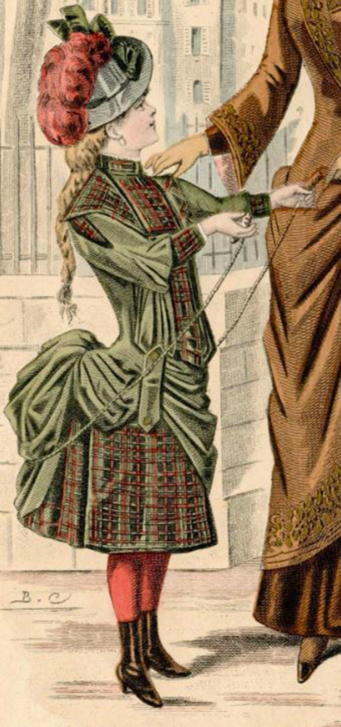 meisjesjurk tournure bustle 1887 lang