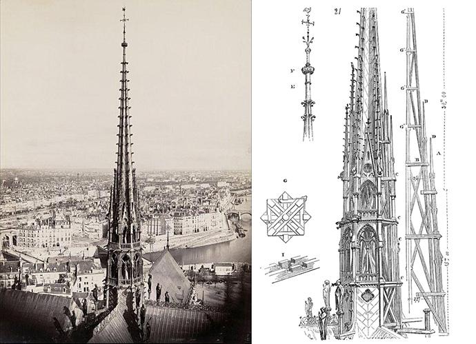 geschiedenis-notre-dame-19e-eeuw-design-ontwerp-vieringtoren-1860s-foto