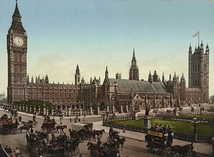 fotochroom-victoriaans-londen-houses-parlaiment-westminster