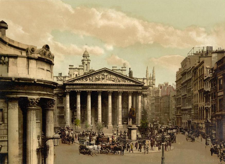 fotochroom-victoriaans-londen-kleur-royal-exchange-bank