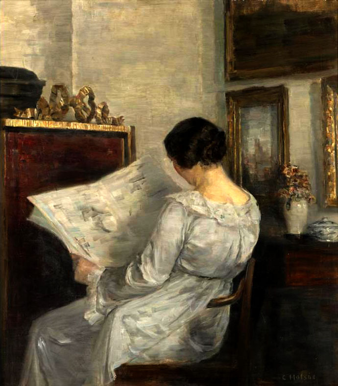 krant-1857-woman-reading-the-newspaper-carl-vilhelm-holsoe