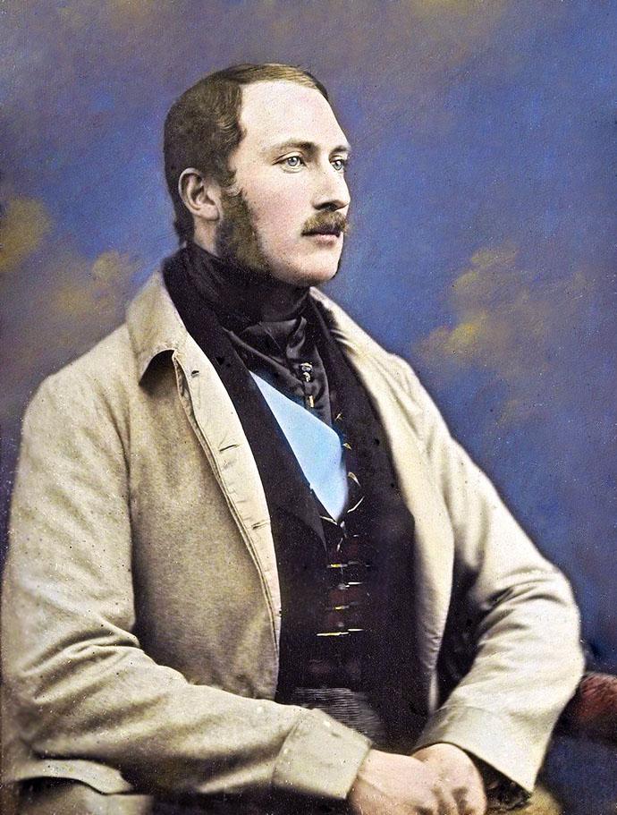 Een handgekleurd dagguereotype van een 29-jarige Prins Albert, in het jaar 1848.