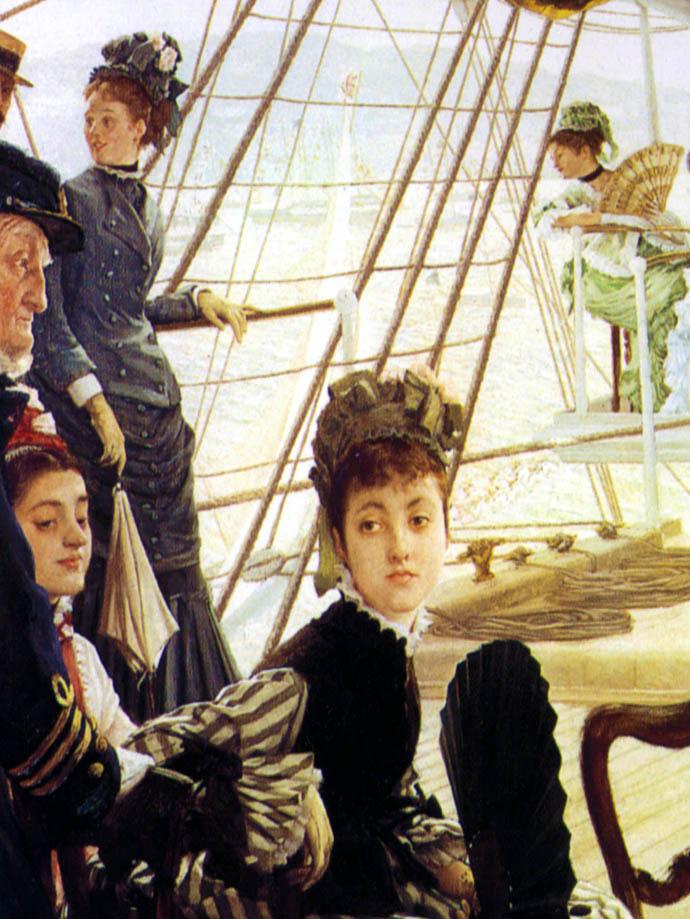 Detail van Ball On Shipboard door James Tissot, met chique geklede adelijke dames aan boord van een zeilschip in de 19e eeuw.