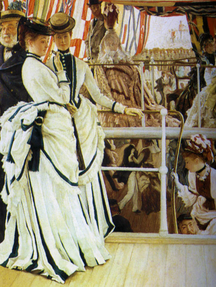 Detail van The Ball On Shipboard door James Tissot, met dames en heren die beneden deks dansen.