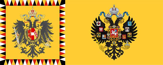 Vergelijking tussen de vlaggen van de keizer van Oostenrijk-Hongarije (links) met die van de tsaar van Rusland (rechts)