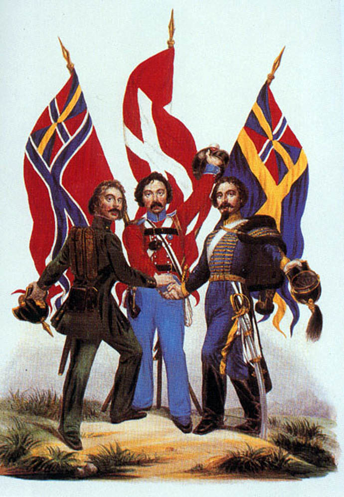 Een 19e eeuwse poster met daarop drie soldaten die de handen ineenslaan, met op de achtergrond de vlaggen van Denemarken, en de 19e-eeuwse vlaggen van de verenigde landen Noorwegen en Zweden.
