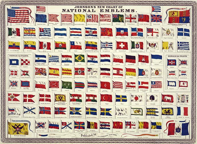 Johnson's New Chart of National Emblems uit 1868.