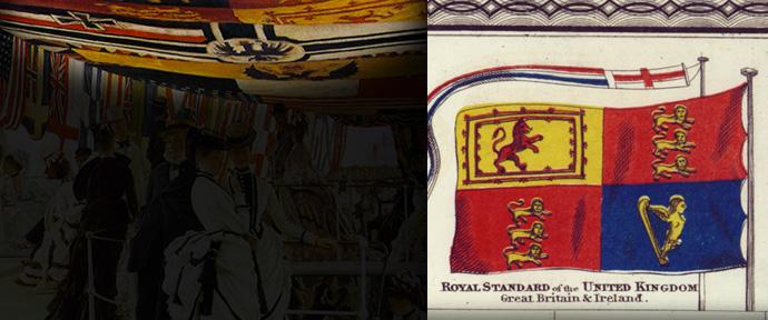 Op de voorgrond van Ball On Shipboard laat Tissot de koninklijke standaard van Groot-Brittannië zien. Detail van Johnson's New Chart of National Emblems uit 1868.