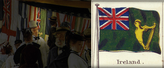 Op de achtergrond van James Tissot's Ball On Shipboard wappert de Ierse vlag, zoals die er in de 19e eeuw uitzag. Detail van Johnson's New Chart of National Emblems.