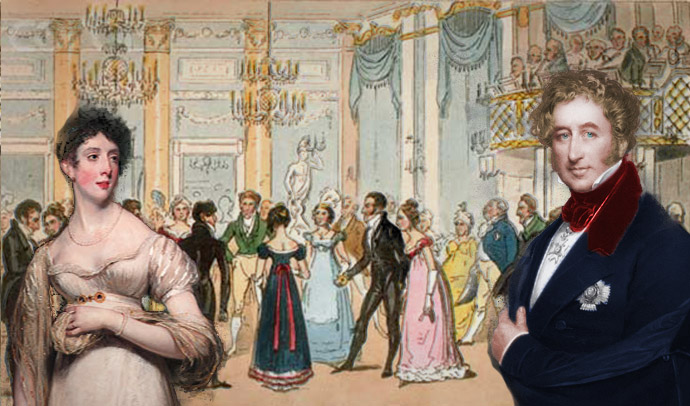 Collage van twee afbeeldingen van Henry Temple, Lord Palmerston rond 1835, en zijn vrouw Emily Lamb rond 1810, met op de achtergrond een ingekleurde schets van een bal op de Almack club in Londen.