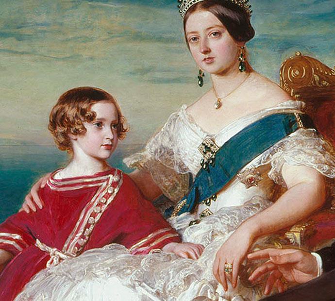 Koningin Victoria en kroonprins Albert Edward (Bertie), detail van een schilderij van Franz Xaver Winterhalter uit 1846.