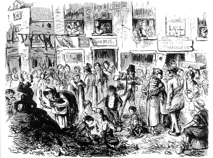A Court For King Cholera, schets door cartoonist John Leech voor het populaire tijdschrift Punch in 1852.