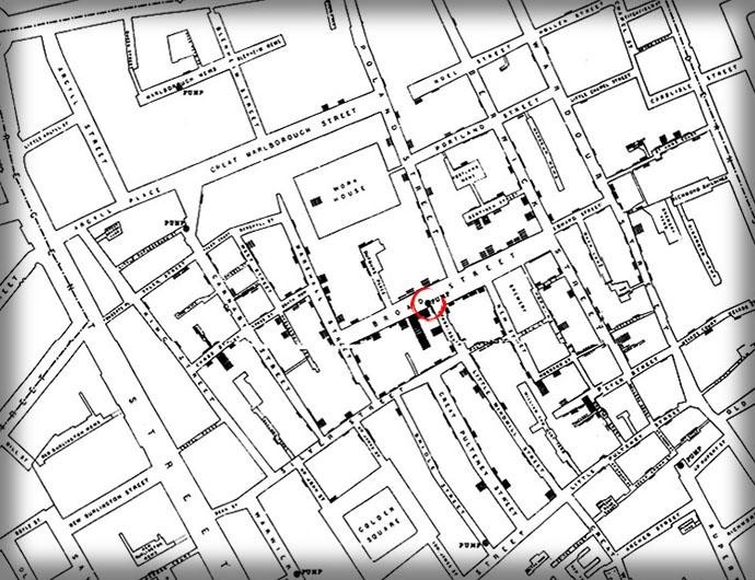 Een uitvergroting van de oorspronkelijke kaart die John Snow voor zijn onderzoek in 1854 maakte. Gevallen van cholera staan ingetekend in zwarte blokken [Publiek domein]. In rood omcirkeld staat de vervuilde waterpomp.