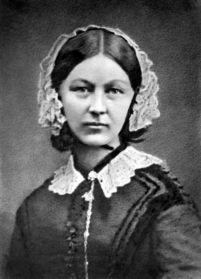 Florence Nightingale, op een fotoportret gemaakt door Henry Hering rond 1860.