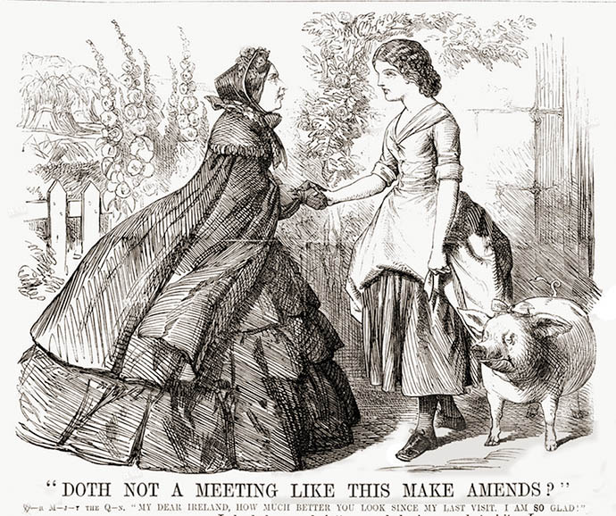 "Spotprent uit het tijdschrift Punch, ter gelegenheid van het bezoek van koningin Victoria aan de arme en hongerige bevolking in Ierland, met de tekst ""Doth not a meeting like this make amends?"""