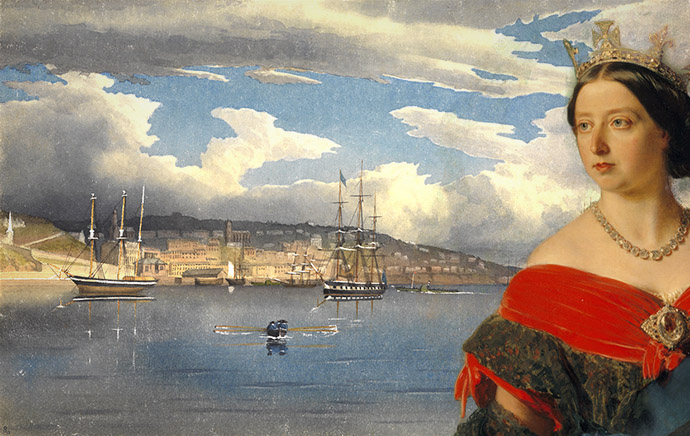Collage met koningin Victoria, geschilderd door Franz Xaver Winterhalter in 1856, met op de achtergrond een schilderij van de zeehaven van Cobh (Queenstown) in Ierland, geschilderd door admiraal E.G. Fanshawe in 1856.