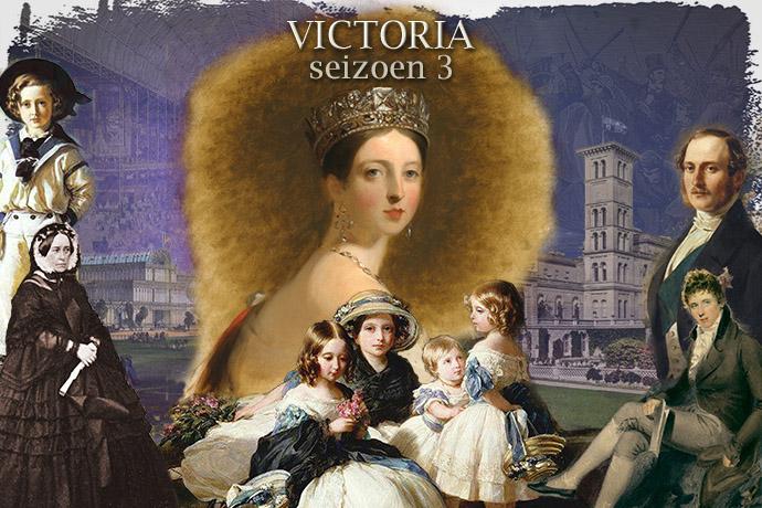 Een collage van Koningin Victoria met Prins Albert, haar kinderen, halfzus Feodora en minister Lord Palmerston, ter gelegenheid van het derde seizoen van de tv-serie VICTORIA. © Compilatie door My inner Victorian.