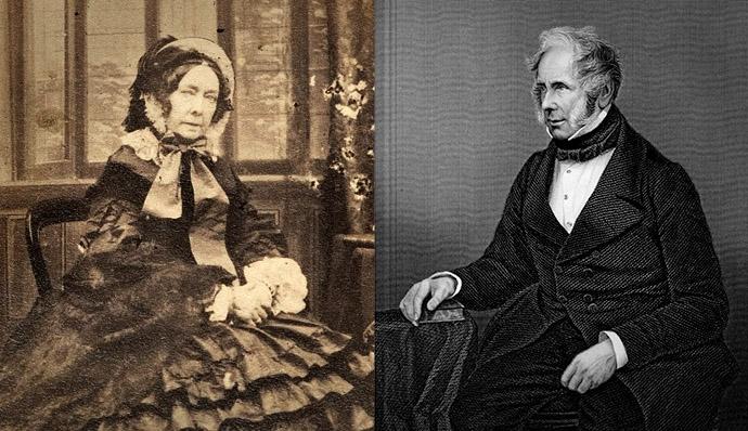 Twee portretten van Emily Lamb, gefotografeerd door Camille Silvy in 1860, en Henry Temple, Lord Palmerston, gravure van rond 1855-1858 door D.J. Pound.