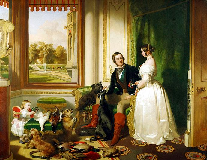 Windsor Castle in Modern Times, 1840-43, met de jonge Victoria en Albert met hun oudste dochter Vicky, afgebeeld door Edwin Henry Landseer, circa 1840 [Publiek domein].