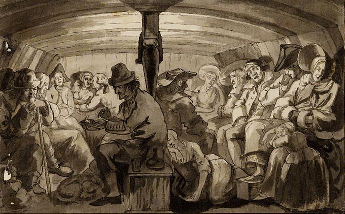 Oude tekening van reizigers aan boord van een trekschuit in de 19e eeuw.