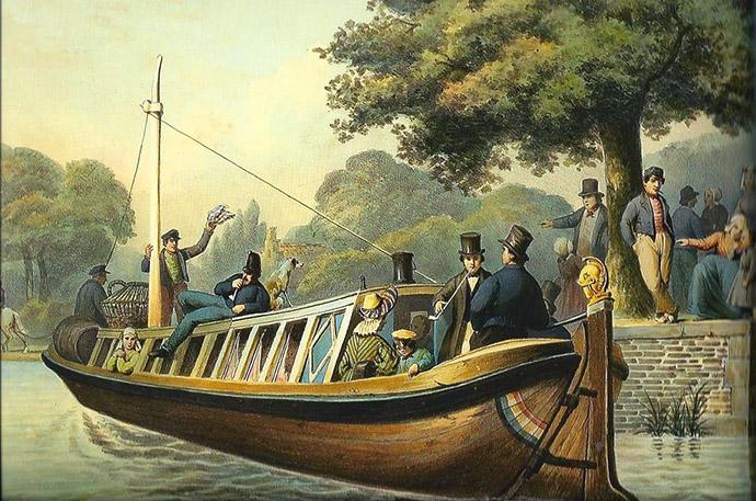 Een 19e-eeuwse kleurentekening van een trekschuit met aan boord deftige heren met hoge hoeden.