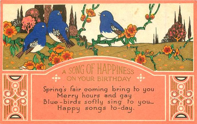 Een latere verjaardagskaart van Tuck & Sons uit 1931, met drie blauwe vogeltjes in een groen landschap, in de stijl van de Art Nouveau.