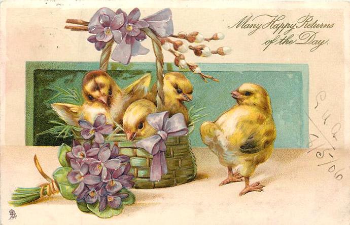 Een verjaardagskaart van Tuck & Sons uit 1906, met daarop Drie schattige gele kuikentjes in een bloemenmandje.