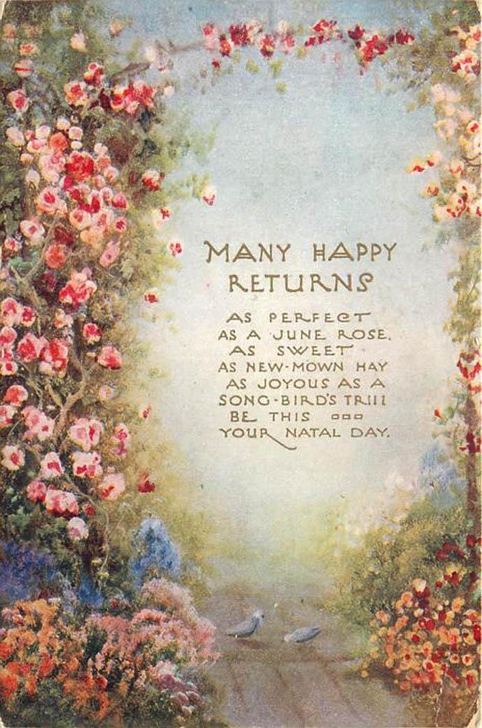 Een antieke verjaardagskaart met een versje en bloementuin van Tuck & Sons uit 1927.