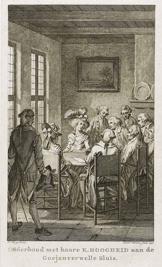 Oude gravure met daarop prinses Wilhelmina van Pruisen na haar aanhouding, aan tafel met patriotten in de boerderij van Adriaan Leeuwenhoek bij de Goejanverwellesluis in 1787.