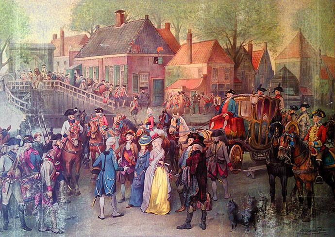 Bekende schoolplaat met daarop een geromantiseerde weergave van de aanhouding van prinses Wilhelmina van Pruisen bij de Goejanverwellesluis in 1787.