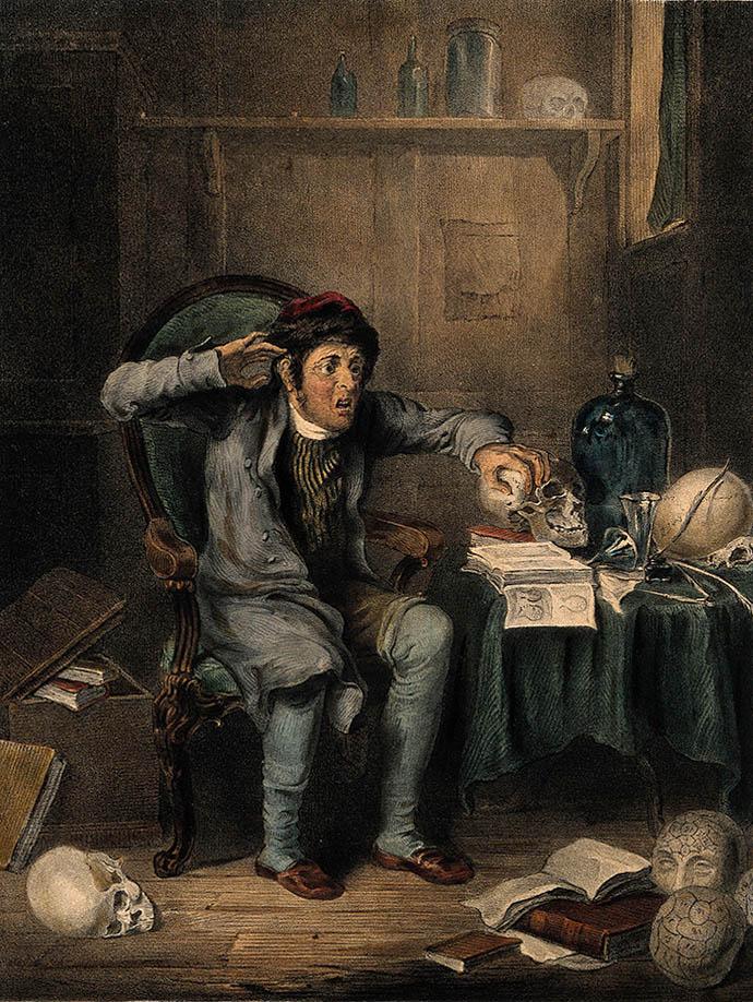 Een nerveuze man vergelijkt zijn eigen hoofd met een schedel, gebruikmakend van frenologische technieken. Een ingekleurde gravure naar het werk van Theodore Lane, rond 1825. Collectie: Wellcome Images [CC BY 4.0 (https://creativecommons.org/licenses/by/4.0)]
