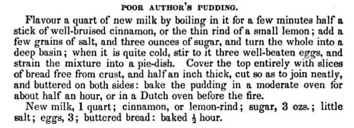 origineel recept voor Poor Author's Pudding