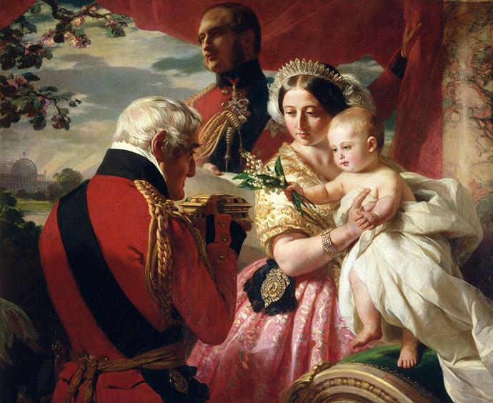 The First of May, 1851 door Franz Xaver Winterhalter, een geïdealiseerde weergave van de doop van prins Arthur, waarbij zijn peetvader en naamgenoot een geschenk aanbiedt [Publiek domein].