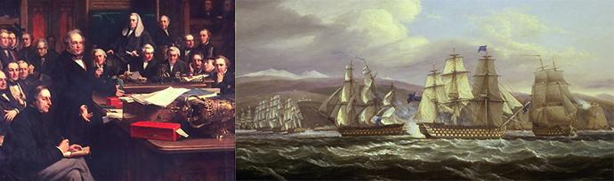 Links: Palmerston in zijn element, tijdens een toespraak in het Britse lagerhuis in 1860, door John Phillip. Rechts: Britse slagschepen blokkeren een Franse haven, op een doek van Thomas Luny uit 1830 [Publiek domein].