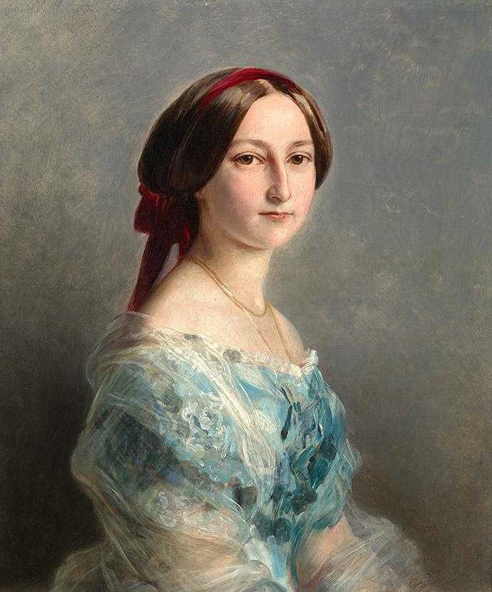Prinses Adelheid van Hohenlohe Langenburg, hier achttien jaar oud, in 1853 geschilderd door Franz Xaver Winterhalter [Publiek domein].
