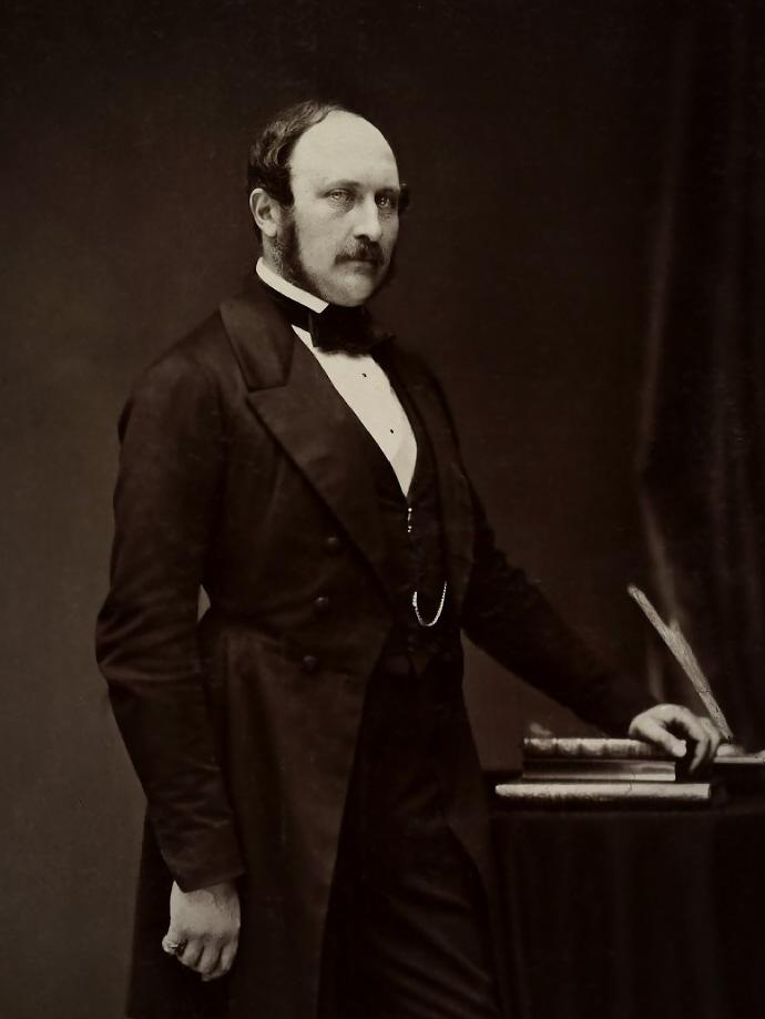 Detail van een zwart-wit foto van Prins Albert, genomen op 15 May 1860 door J.J.E. Mayall, uitgegeven rond 1891 door Hughes & Mullins, in opdracht van Koningin Victoria.