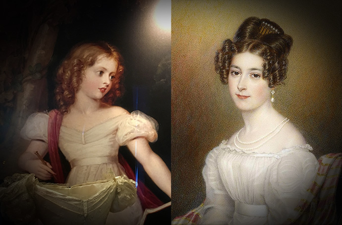 Victoria als 11-jarige prinses in 1830, door Richard Westall (1765-1836). Prinses Feodora van Leiningen rond 1830. door Henry Collen (1797-1879).