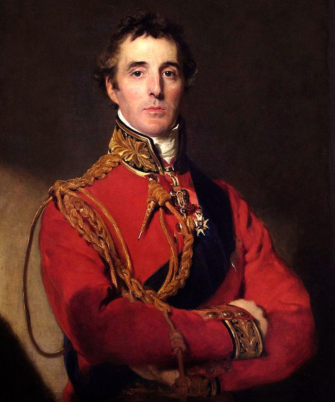 Een portret van een nog jonge Arthur Wellesley, 1st hertog van Wellington, na zijn overwinning bij Waterloo in 1815, door Thomas Lawrence [Publiek domein].