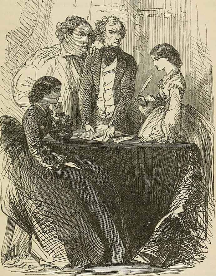 Gravure van een scene uit de roman The Woman In White van Wilkie Collins, uit 1873 [Publiek domein].