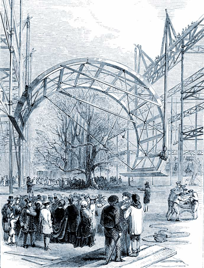 Het Crystal Palace in aanbouw, met kijkers. Uit: The Crystal Palace: Its Architectural History and Constructive Marvels, door Peter Berlyn and Charles Fowler, gravure door George Measom (1818-1901).