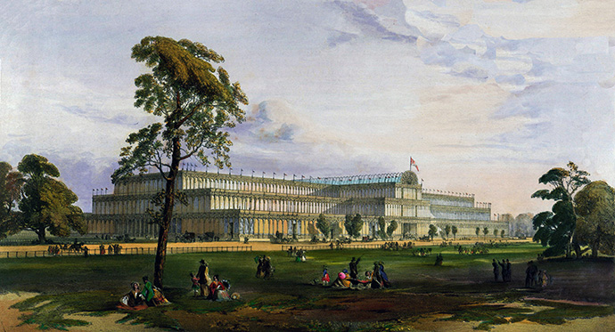 The Crystal Palace from the northeast during the Great Exhibition of 1851, uit: Dickinsons' comprehensive pictures of the Great Exhibition of 1851 (1852).