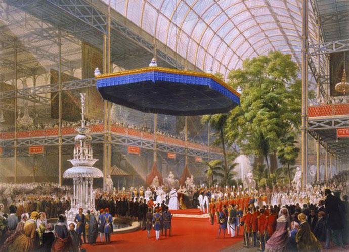 De officiële opening van de eerste Wereldtentoonstelling door Victoria in het Crystal Palace, op een kleurige steendruk van Louis Haghe uit 1851
