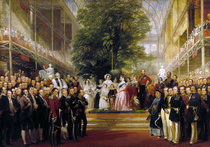 The Opening of the Great Exhibition by Queen Victoria on 1 May 1851, door Henry Courtney Selous (1803-1890)