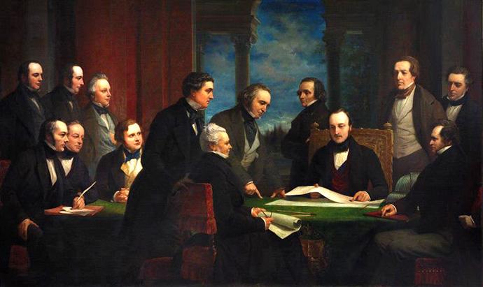 Schilderij van de commissie die zich moest buigen over de Great Exhibition van 1851, met Albert centraal. Door Henry Wyndham (1820-1868)