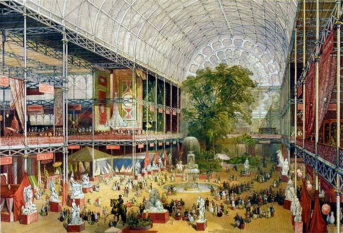 Het interieur van het Crystal Palace, gezienvanaf de hoofdingang, op een ingekleurde gravure door William Simpson, als souvenir voor bezoekers van de Great Exhibition, uitgegeven door Ackermann & Co (1851).