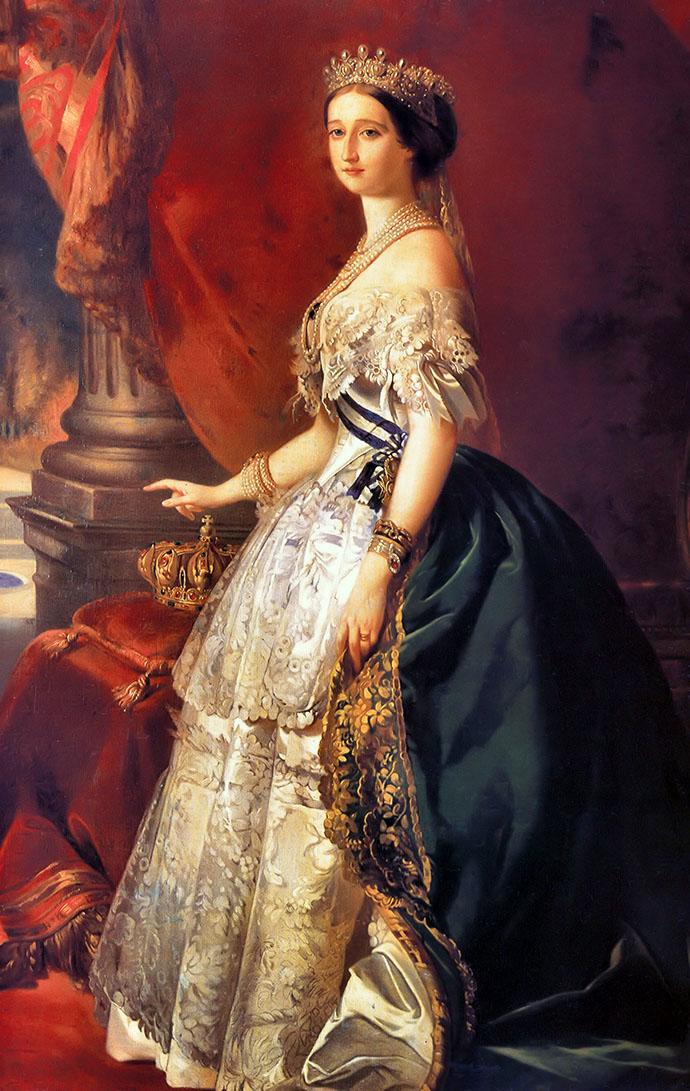 Eugénie, laatste keizerin der Fransen, op een staatsieportret door Franz Xaver Winterhalter, net na haar huwelijk met Napoleon III in 1853.