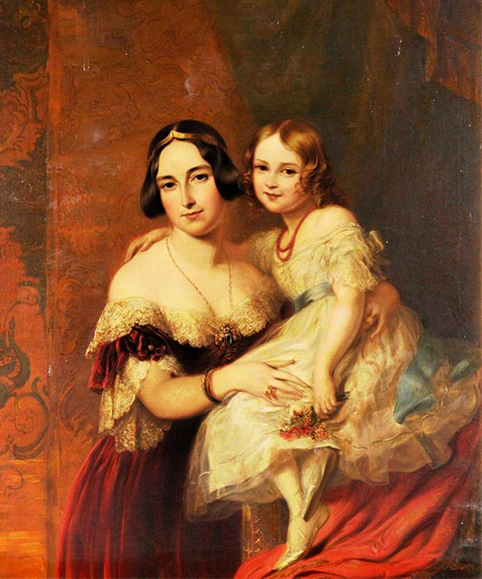 Prinses Feodora van Lohenhohe-Langenburg met haar dochter, Prinses Adelheid, hier ongeveer zes jaar oud, op een schilderij door Richard James Lane, gecombineerd met het originele ontwerp op een schets door de schilder Sir George Hayter, uit 1841. Compilatie door My inner Victorian.