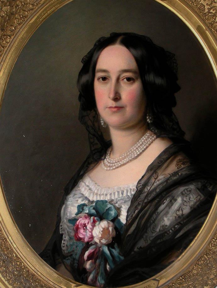 Feodora, prinses van Hohenlohe-Langenburg, in 1854-1855, dus ongeveer wanneer deze serie eindigd. Schilderij door William Corden de Jongere.