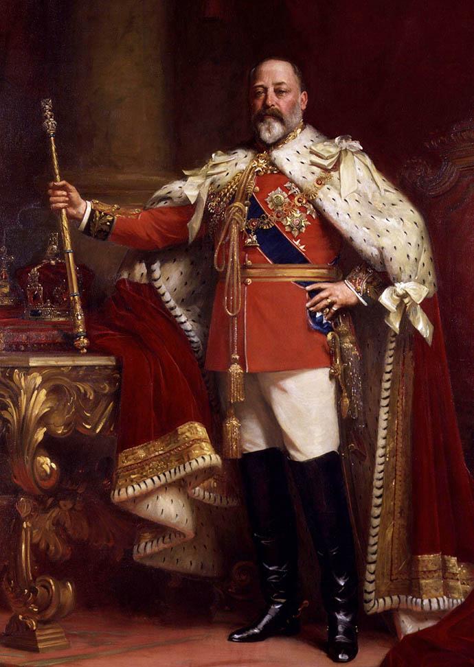 Staatsieportret van de Britse koning Edward VII door Luke Fildes in 1901 [Publiek domein].